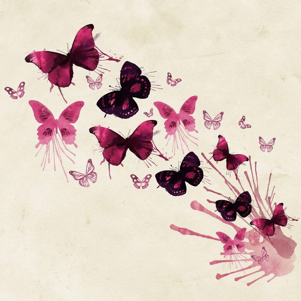 background, butterflies, pink